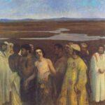 József és testvérei festményen: Ferenczy Károly Józsefet eladják testvérei (1900, Nemzeti Galéria, kép részlete)